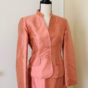 Anne Klein 8p Skirt Suit! Shiny Coral